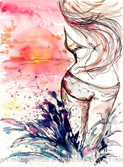Watercolor Painting Woman Beach